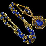 Lg Czech Figural Lady Jeweled Lapis Art Glass Necklace