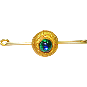 Victorian Foiled Peacock Eye Brooch Kilt Pin
