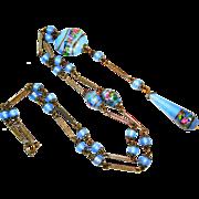Czech Edwardian Lampwork Art Glass Sautoir Necklace Baby Blue