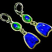Foiled Peacock Eye Glass Sterling Silver Earrings