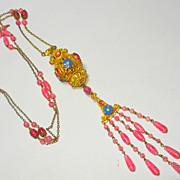 SOLD FINEST Czech Foil Enamel Sautoir Art Glass Bead Necklace OLD
