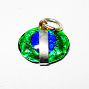 SOLD Fab Peacock Eye Fob Charm or Pendant for Necklace STERLING