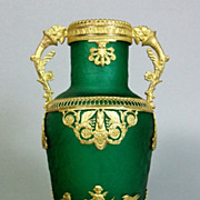 Antique French Empire Green Crystal Dore Bronze Vase