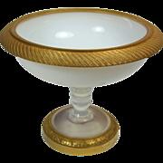 Antique French Napoleon III Bulle de Savon Opaline Dore Bronze Glass Tazza