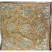 Antique Ottoman Turkish Embroidered Cover Gold Metallic Sultans Tughra Calligraphy