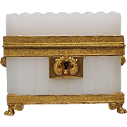 Antique French Charles X Bulle De Savon Opaline Glass Casket Ormolu Mounts