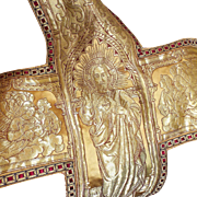 SOLD Antique French Gothic Religious Textile Ophrey Panel Gold Metallic Silk Brocade Angels Ch