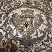 17th Century Armorial Coat of Arms Metallic Silk Embroidery Antique Textile