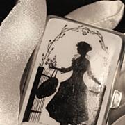 Art Deco Ladies Enameled Nickel Silver Cigarette Case C. 1920's