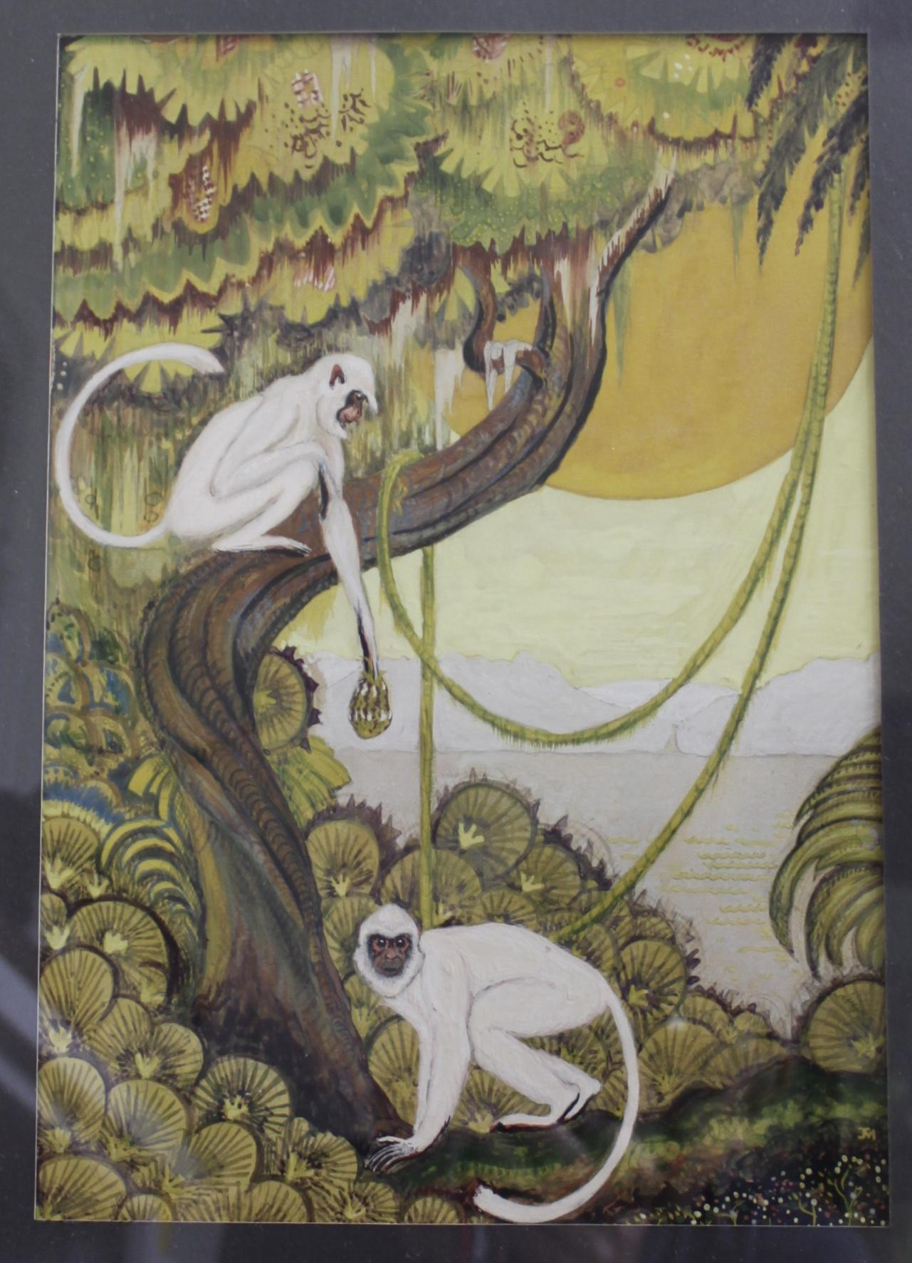 Art Deco Monkeys Gouache Painting Circa Late 1920 S From