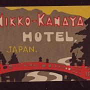 1927 Luggage Label Nikko-Kanaya Hotel, Japan