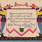 Art Deco Christmas Greetings Dated December, 1932