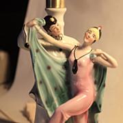 German Art Deco Boudoir Lamp 1920's Pierrot and Columbine
