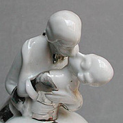 Ooh! Passionate kissing couple powder jar/half doll rel.