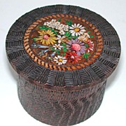 Adorable old colorful carved and painted wooden trinket box