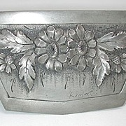 Fab French art nouveau era signed 'daisies' pewter box