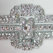 Wonderful 30s Art Deco rhinestone pin / brooch