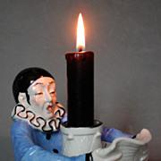 Scarce Sitzendorf 20s sad Pierrot candlestick / half-doll related