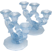 Cambridge Glass Tri-Light Candlesticks Willow Blue Frosted Keyhole