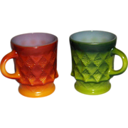 Pair of Fire King Kimberly Pattern Stacking Mugs by Anchor Hocking