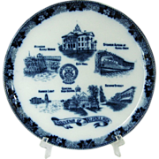 Flow Blue Souvenir of Alpena, Michigan Plate by Wm. Adams & Co. England for J ...