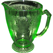 Florentine No. 1 Green Depression 6 1/2 inch Footed Pitcher from Hazel Atlas Glass ...