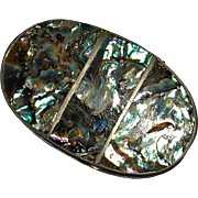 Sterling Silver with Abalone Vintage Oval Pill or Snuff Box