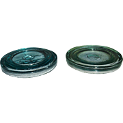 2 Hamilton Glass Co. Fruit Jar/Sealer Lids Aqua