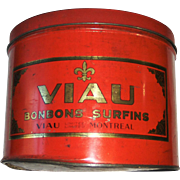 Large Red VIAU Bonbons Surfins Tin