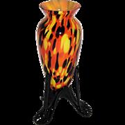 Czech Spatter Glass 3 Legged Footed Vase