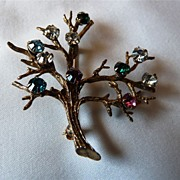 Vintage Sterling Silver Christmas with Coloured Rhinestones