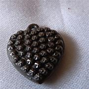 "Victorian Sterling Heart Charm Stars Engraved ""Edna"""