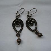Victorian Silver Horse-Shoe & Flower Earrings