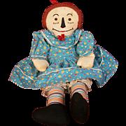 """17"""" Vintage Home-Made Raggedy Ann Doll"""