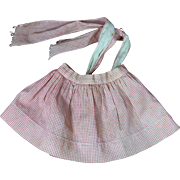 Wonderful Old Red and White Gingham Doll Apron