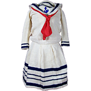 Wonderful Knitted Sailor Outfit for Large Doll