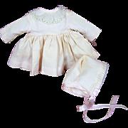 Vintage Composition or Hard Plastic Doll Dress & Bonnet