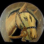 Fantastic Vintage Horse Head Wooden Plaque with Intarsia inlay
