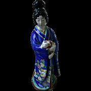 Very Rare Antique Japanese Kutani Porcelain Figurine of Geisha Girl with Dog
