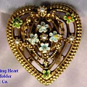 Vintage Signed ART Heart Shaped Enamel & Pearl Scarf Holder Brooch