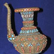 Exceptional Vintage Eastern Jeweled Kendi Tea or Coffee Pot
