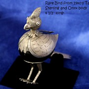 Great Vintage TAXCO MEXICO Sterling and Onyx Bird Figurine