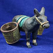 Antique Cast Iron Burro or Donkey Match & Cigarette Holder