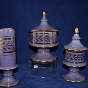 Mint!  Art Deco HOLLYWOOD 14K Gold Trimmed Purple Vanity Set with Powder Jars