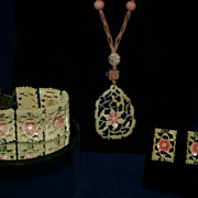 Stunning Chinese Deco Carved Bone and Peking Glass Necklace, Bracelet Earrings