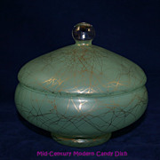 Funky Mid Century Modern Mint Green with Spun Gold Candy Dish
