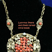 Attractive Art Nouveau Coral and Pearl Necklace with Floral Medallion