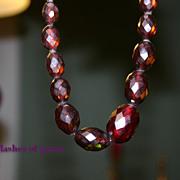 Gorgeous Deco Prystal BAKELITE Cherry Amber Bead Necklace