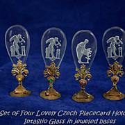 Czechoslovakian Jeweled Intaglio Place Card Holders Set of 4