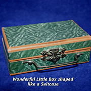 Darling Antique Miniature Doll's Suitcase Jewelry Box
